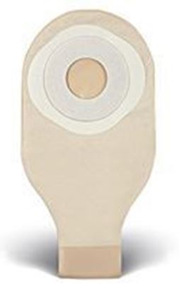 "Picture of One Piece Drainable 12""  Pouch, 2"" Pre-Cut Stoma Skin Barrier, Tape, Clip, Opaque"
