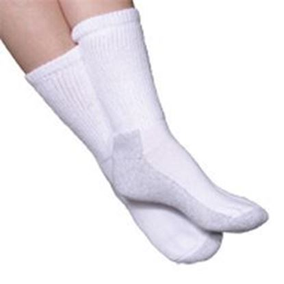 Picture of Advance Diabetic Socks, Medium (8-10), Crew, White