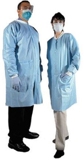 Picture of Medicom® Disposable SMS Laboratory Gown, Small, Sky Blue, Non-Sterile, Latex-Free, Case/50