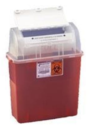 Picture of GatorGuard™ Safety In-Room™ Jr. Sharps Container, Transparent Red, 5 Quart