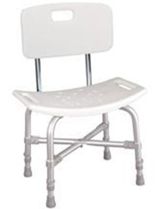 Picture of Heavy Duty Bath Bench, w/Back Aluminum , Seat White Plastic