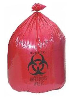 "Picture of Infectious Waste Bag, 23"" x 23"" Red, 1.1 mil, Can Liner"