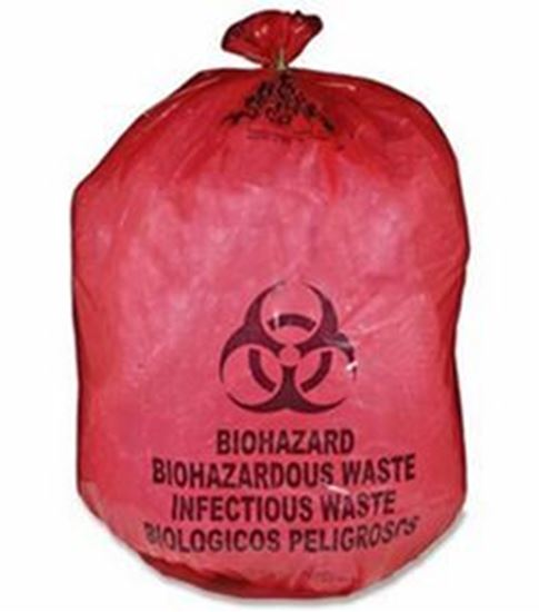 """Picture of Infectious Waste Bag, 43"""" x 48"""" Red, 2.0 mil, Can Liner"""