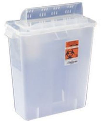 Picture of In-Room™ Sharps Container with Always-Open Lid, 3 Gallon, Clear