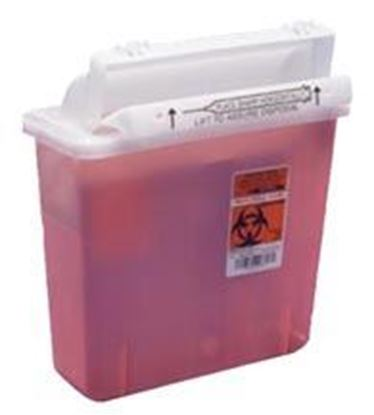 Picture of In-Room™ Sharps Container with Mailbox-Style Lid, 5qt, Transparent Red