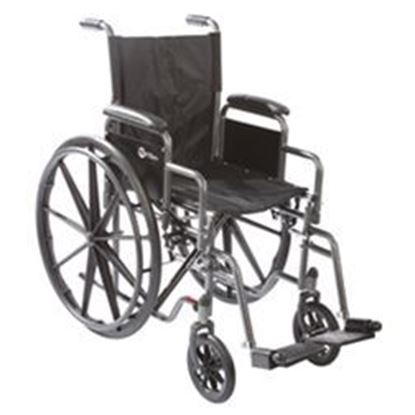 "Picture of K1 16"" Wheelchair with Fixed Arms and Swing Away Footrests"