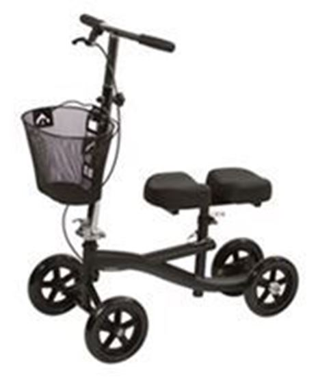 """Picture of Knee Scooter with 8-Hole Stem Patient Height Range:4'11"""" to 6'6"""", Black"""