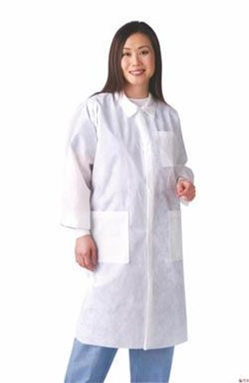 Picture of Disposable Lab Coat, White, Large, Traditional Collar, Knit Cuff, Multilayer, Case/30
