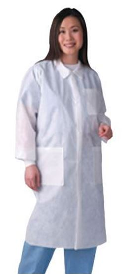 Picture of Disposable Lab Coat, White, X-Large, Traditional Collar, Knit Cuff, Multilayer, Case/30