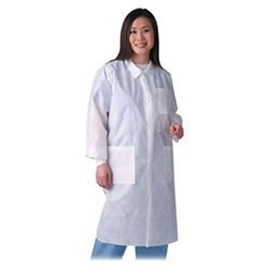 Picture of Disposable Lab Coat, White, 2X-Large, Traditional Collar, Knit Cuff, Multilayer, Case/30