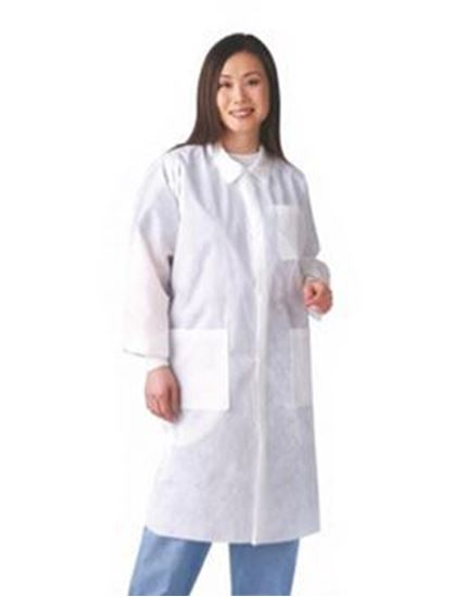 Picture of Disposable Lab Coat, White, 3X-Large, Traditional Collar, Knit Cuff, Multilayer, Case/30