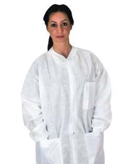 Picture of Disposable Pocket Lab Coat, White, 2X-Large, Anti-Static, SMS, Knit Collar/Cuff, Non-Sterile, Case/50