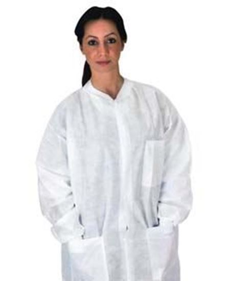 Picture of Disposable Pocket Lab Coat, White, Large, Anti-Static, SMS, Knit Collar/Cuff, Non-Sterile, Case/50