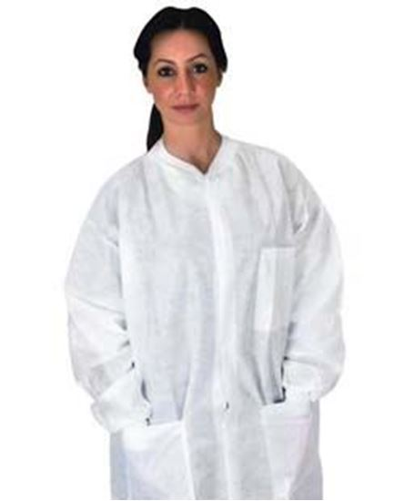 Picture of Disposable Pocket Lab Coat, White, Medium, Anti-Static, SMS, Knit Collar/Cuff, Non-Sterile, Case/50