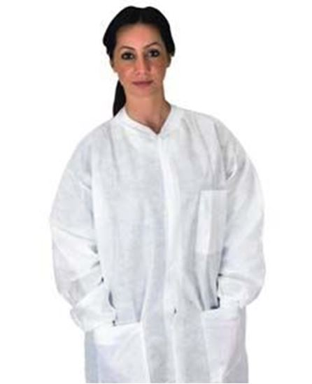 Picture of Disposable Pocket Lab Coat, White, X-Large, Anti-Static, SMS, Knit Collar/Cuff, Non-Sterile, Case/50