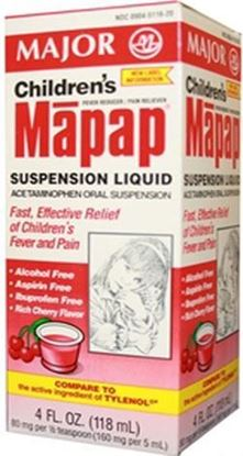 Picture of Major Analgesic-Childrens Acetaminophen, Suspension, Cherry, 118mL