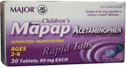 Picture of Major Analgesic-Childrens Mapap, 80mg, Rapid Melt Tablets, Grape
