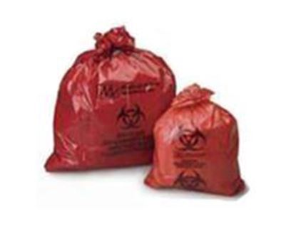 """Picture of Medegen Infectious Waste Bag, 23"""" x 23"""" Red, F-Code Series, Can Liner"""
