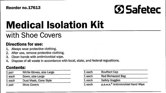 Picture of Medical Isolation Kit: SafetyGoggles,Cone,Mask,ShoeCovers,Gown,Gloves,Cap,BioBag