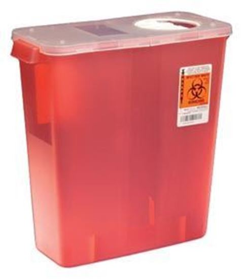 Picture of Multi-Purpose Container w/ Rotor & Hinged Opening Lid, 3 Gallon, Transparent Red