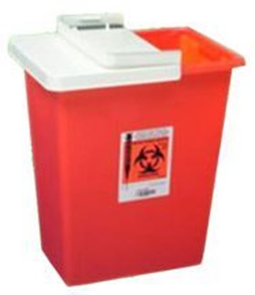 Picture of Multi-Purpose Sharps Container, 2gal, Red, Drop Opening Lid