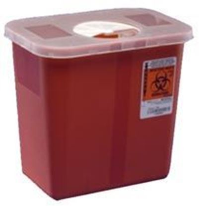 Picture of Multi-Purpose Sharps Container, 2gal, Red, Roto Open Lid