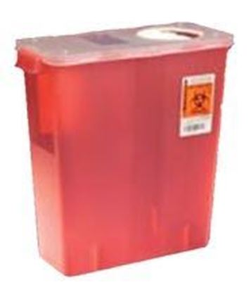 Picture of Multi-Purpose Sharps Container, 5qt, Red, Round, Roto Opening Lid