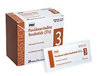 Picture of PDI Preventics®  Sani-Cloth® 10 % PVP Iodine Prep Swabs, 3/pkg, 25 pkg/box