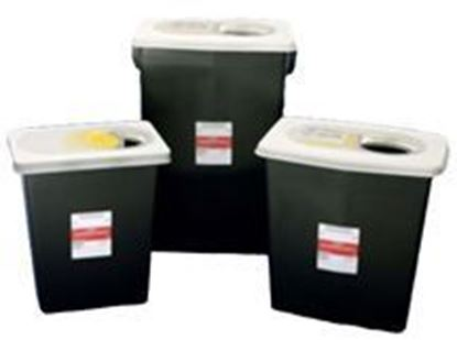 Picture of RCRA Hazardous Waste Container with Sliding Lid, 18 Gallon, Black