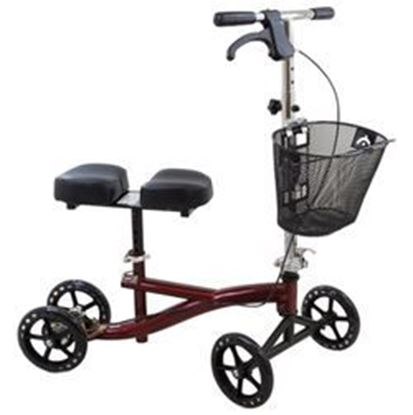 "Picture of Roscoe Knee Scooter, Burgundy,8"" clear Wheels, User Height - 4'11"" - 6'6"""