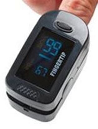 Picture of Roscoe Medical Two-Display Mode Pulse Oximeter with rubber boot and lanyard