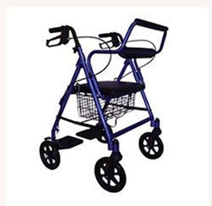 "Picture of Roscoe Transport Rollator, Blue, 8"" wheels, Fold Down Footrests"