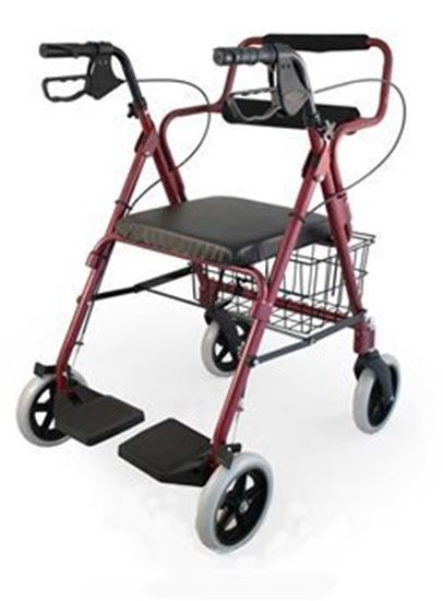"Picture of Roscoe Transport Rollator, Burgundy,Weight Capcty 250 lbs,8"" Whls,Fld Dwn Ftrsts"
