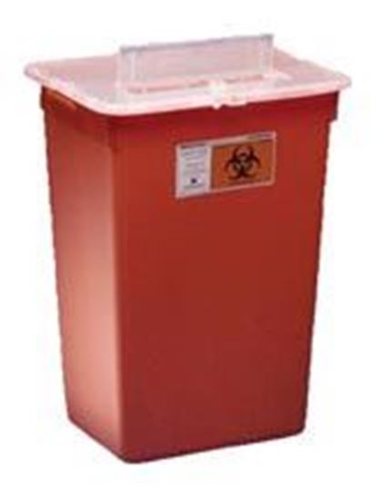Picture of Sharp-A-Gator™ Sharps Container, Split Lid, Red, 7 Gallon