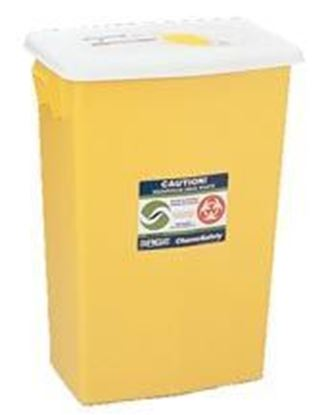 Picture of SharpSafety™ Chemotherapy Sharps Container, 8gal, Yellow, Hinged Lid