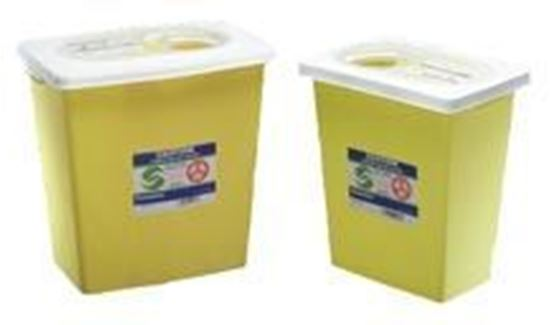 Picture of SharpSafety™ Chemotherapy Sharps Container, 8gal, Yellow, Slide Lid