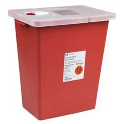 Picture of SharpSafety™ Sharps Container, 18gal, Red, Hinged Lid