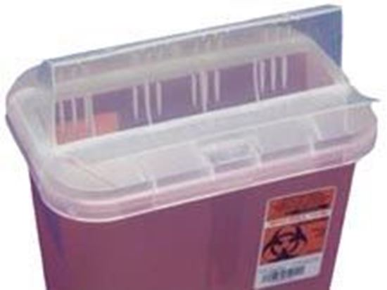 Picture of SharpSafety™ Sharps Container, 2gal, Transparent Red, Drop Opening Lid