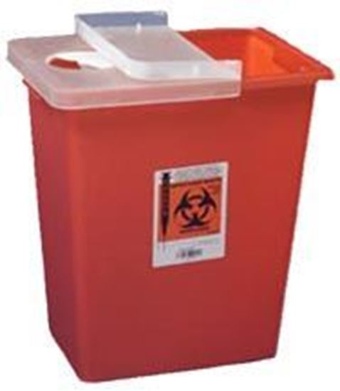 Picture of SharpSafety™ Sharps Container, 8gal, Red, Hinged Lid