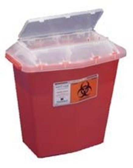 Picture of Sharps-A-Gator™ Sharps Container, Tortuous Path, Transparent Red, 5 Quart