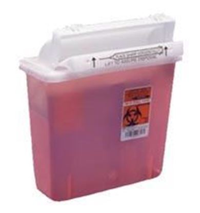Picture of SharpStar™ Safety In-Room™ Sharps Container,Counter Balncd Lid,5qt,Transprnt Red