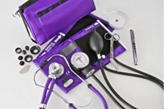 Picture of Sphygmomanometer/Stethoscope Combo Kit, Carrying Case, Deluxe Version, Purple