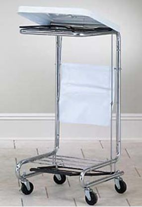 "Picture of Square Chrome Plated Steel Hamper Frame, White with Tilt-Lid, 18.625"" x 19.5"" x 37.5"""