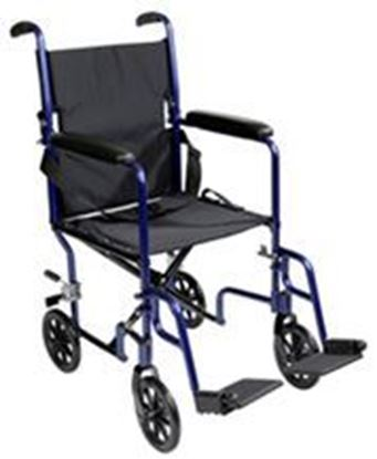 "Picture of Transport Chair 19"", Aluminum, Blue, Fixed arms, Swng-Away Footrests w/Loops"