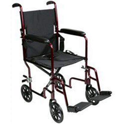 "Picture of Transport Chair 19"", Aluminum, Burgundy, Fixed arms, Swng-Away Footrests w/Loops"