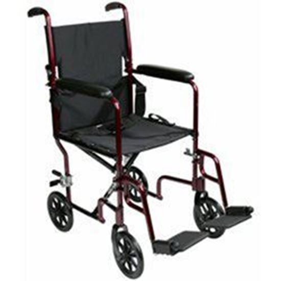 """Picture of Transport Chair 19"""", Aluminum, Burgundy, Fixed arms, Swng-Away Footrests w/Loops"""