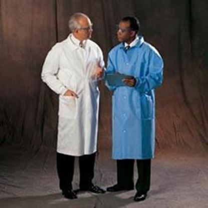Picture of Universal Precautions Lab Coat by Halyard Health, Disposable, Blue, Small, Non-Sterile, Case/25