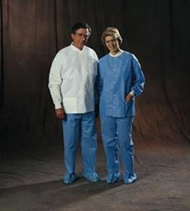 Picture of Universal Precautions Lab Jacket by Halyard Health, Disposable, White, Medium, Non-Sterile, Case/25