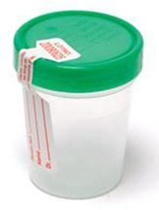 Picture of Urine Specimen Containers, Screw-On Lid & tamper evident label, 4 oz, Sterile