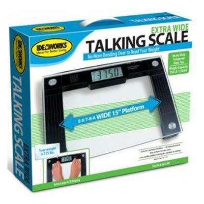 "Picture of Extra Wide (15"") Talking Digital Scale, 550lb Capacity, Glass Platform"